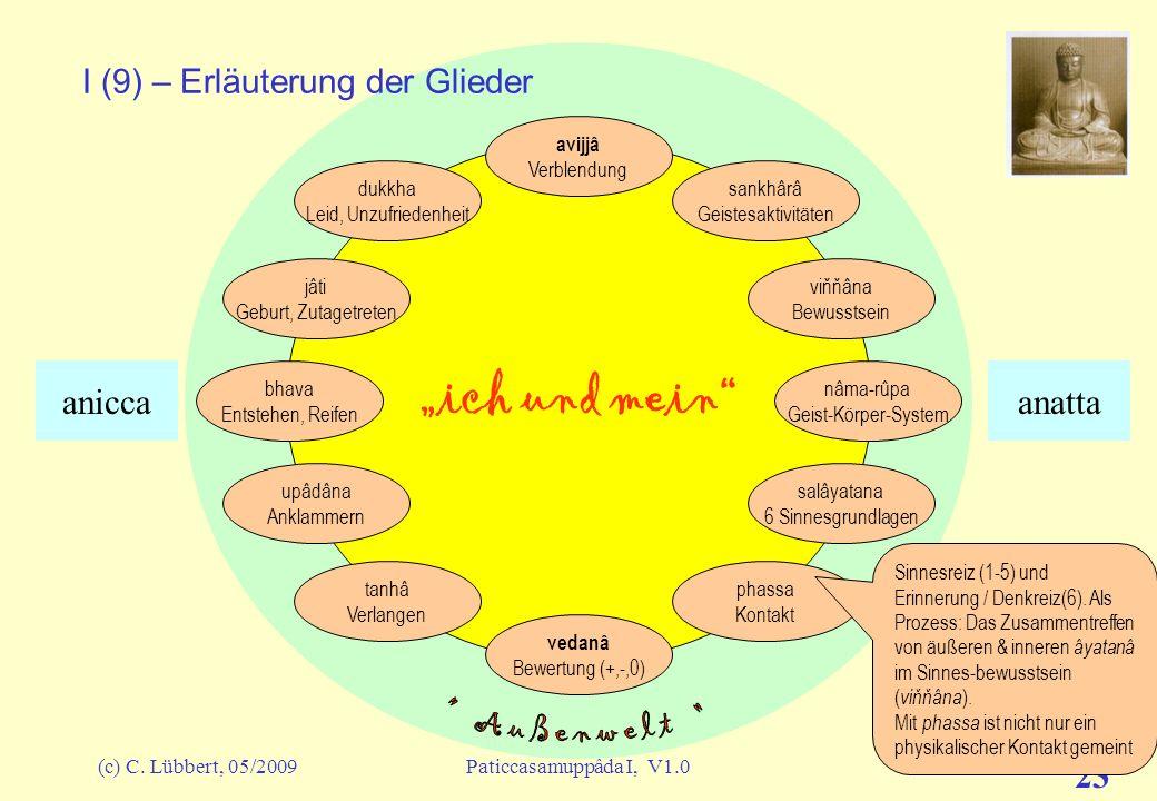 (c) C. Lübbert, 05/2009Paticcasamuppâda I, V1.0 22 ich und mein I (8) – Erläuterung der Glieder avijjâ Verblendung sankhârâ Geistesaktivitäten viňňâna
