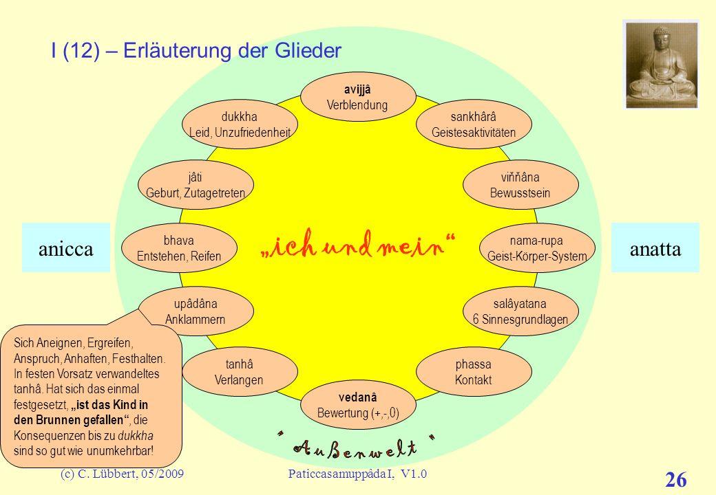 (c) C. Lübbert, 05/2009Paticcasamuppâda I, V1.0 25 ich und mein I (11) – Erläuterung der Glieder avijjâ Verblendung sankhârâ Geistesaktivitäten viňňân