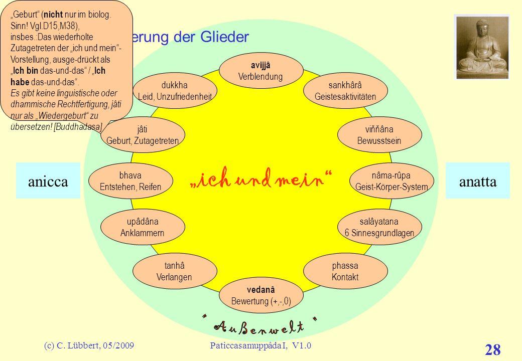 (c) C. Lübbert, 05/2009Paticcasamuppâda I, V1.0 27 ich und mein I (13) – Erläuterung der Glieder avijjâ Verblendung sankhârâ Geistesaktivitäten viňňân