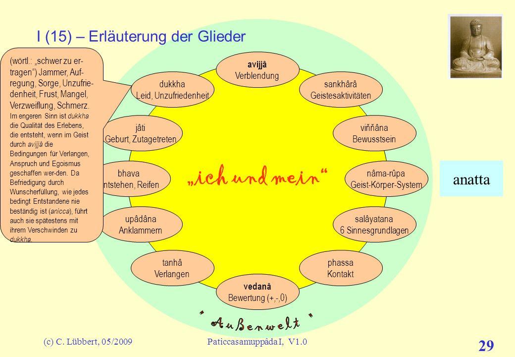 (c) C. Lübbert, 05/2009Paticcasamuppâda I, V1.0 28 ich und mein I (14) – Erläuterung der Glieder avijjâ Verblendung sankhârâ Geistesaktivitäten viňňân