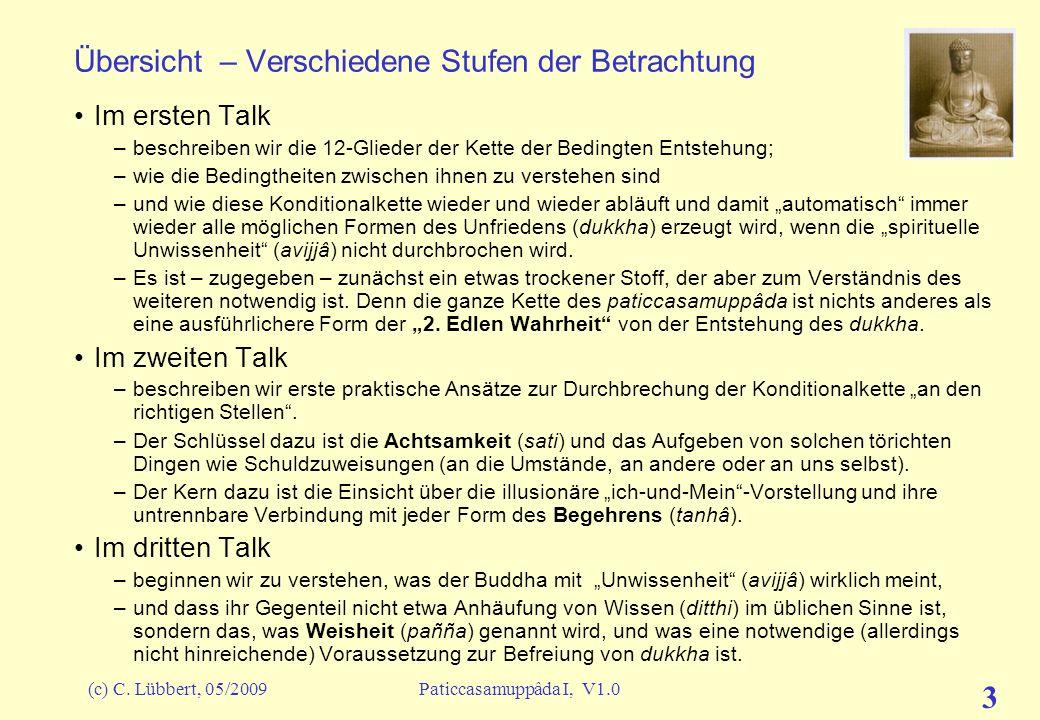(c) C. Lübbert, 05/2009Paticcasamuppâda I, V1.0 2 Übersicht über alle Talks Vorwort (9.5.09) –Zur Einstimmung und der Sichtweise Entstehen in Abhängig
