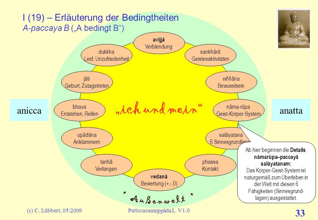 (c) C. Lübbert, 05/2009Paticcasamuppâda I, V1.0 32 ich und mein I (18) – Erläuterung der Bedingtheiten A-paccaya B (A bedingt B) avijjâ Verblendung sa