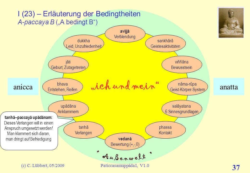 (c) C. Lübbert, 05/2009Paticcasamuppâda I, V1.0 36 ich und mein I (22) – Erläuterung der Bedingtheiten A-paccaya B (A bedingt B) avijjâ Verblendung sa