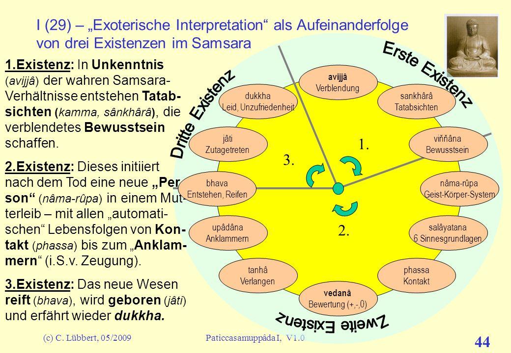 (c) C. Lübbert, 05/2009Paticcasamuppâda I, V1.0 43 I (28) – Was wir nicht weiterverfolgen wollen Bevor wir im nächsten Talk die Glieder dieses Kreises