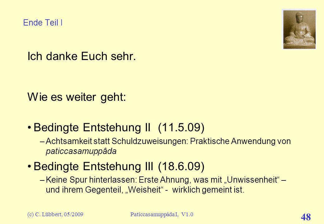 (c) C. Lübbert, 05/2009Paticcasamuppâda I, V1.0 47 Mit allen Details (z.T. noch ausführlicher als hier dargestellt, vgl. D15) Mit einigen Details Zusa