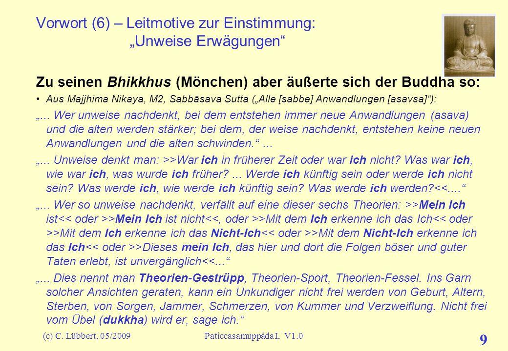 (c) C. Lübbert, 05/2009Paticcasamuppâda I, V1.0 8 Vorwort (5) – Leitmotive zur Einstimmung: Wiedergeburt ?? Buddha bekämpfte zwar den Wiedergeburtsgla