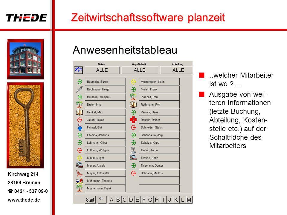 Kirchweg 214 28199 Bremen 0421 - 537 09-0 www.thede.de Zeitwirtschaftssoftware planzeit Anwesenheitstableau..welcher Mitarbeiter ist wo ?... Ausgabe v