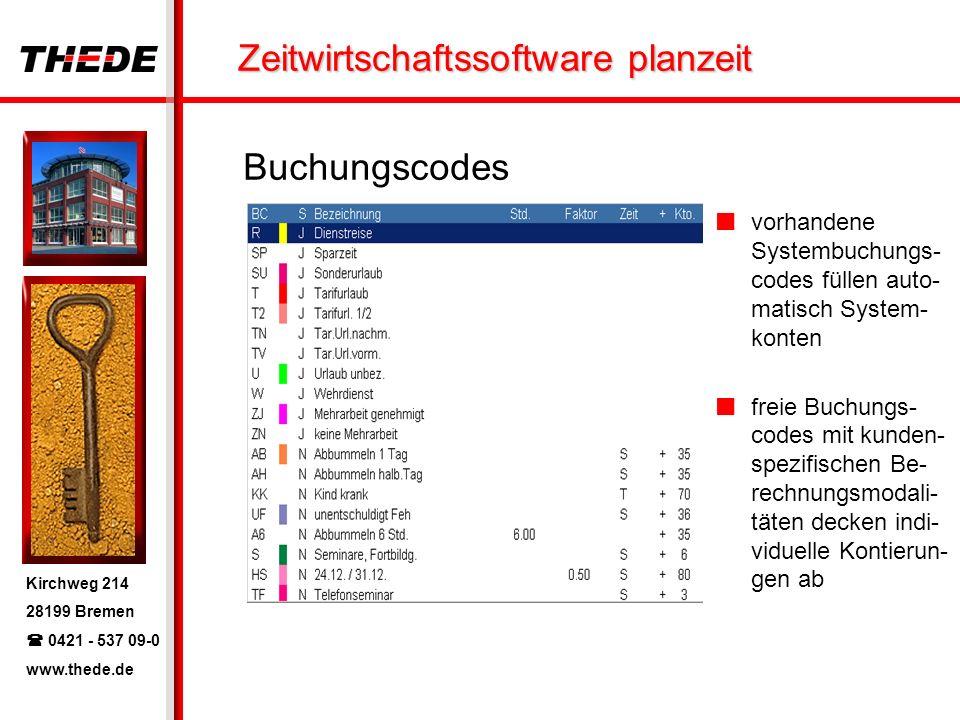Kirchweg 214 28199 Bremen 0421 - 537 09-0 www.thede.de Zeitwirtschaftssoftware planzeit Buchungscodes vorhandene Systembuchungs- codes füllen auto- ma