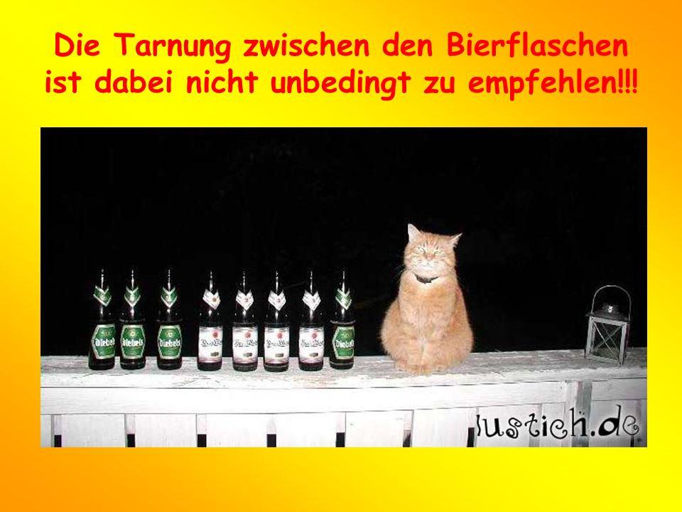 Die Tarnung zwischen den Bierflaschen ist dabei nicht unbedingt zu empfehlen!!!