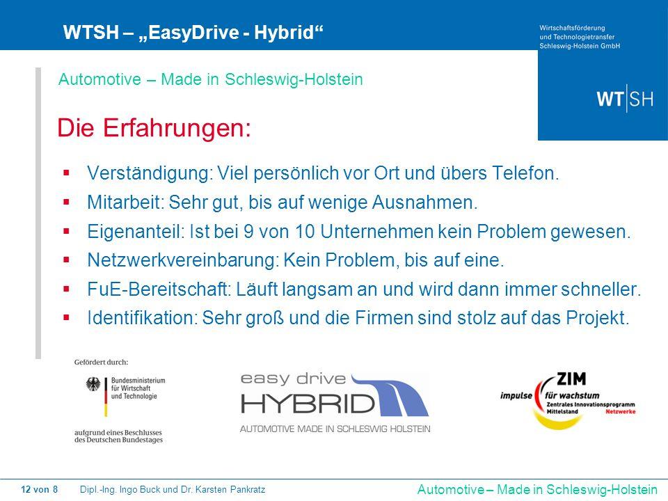 Dipl.-Ing. Ingo Buck und Dr. Karsten Pankratz12 von 8 Automotive – Made in Schleswig-Holstein WTSH – EasyDrive - Hybrid Die Erfahrungen: Verständigung