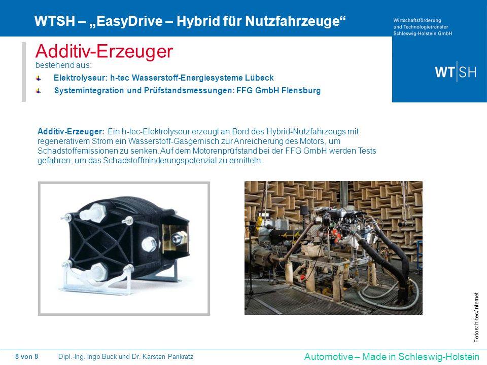 Dipl.-Ing. Ingo Buck und Dr. Karsten Pankratz8 von 8 Automotive – Made in Schleswig-Holstein Additiv-Erzeuger bestehend aus: Elektrolyseur: h-tec Wass