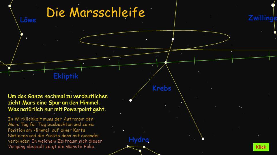 Krebs Hydra Ekliptik Löwe Zwillinge Um das Ganze nochmal zu verdeutlichen zieht Mars eine Spur an den Himmel. Was natürlich nur mit Powerpoint geht. I