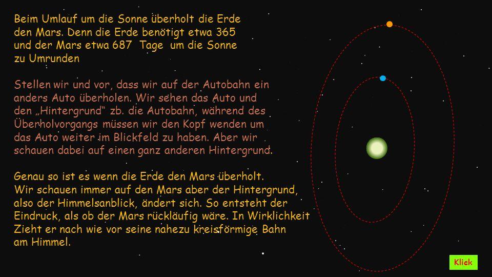 Beim Umlauf um die Sonne überholt die Erde den Mars. Denn die Erde benötigt etwa 365 und der Mars etwa 687 Tage um die Sonne zu Umrunden Stellen wir u