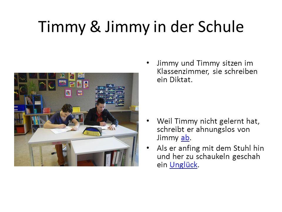 Timmy & Jimmy in der Schule Jimmy und Timmy sitzen im Klassenzimmer, sie schreiben ein Diktat.
