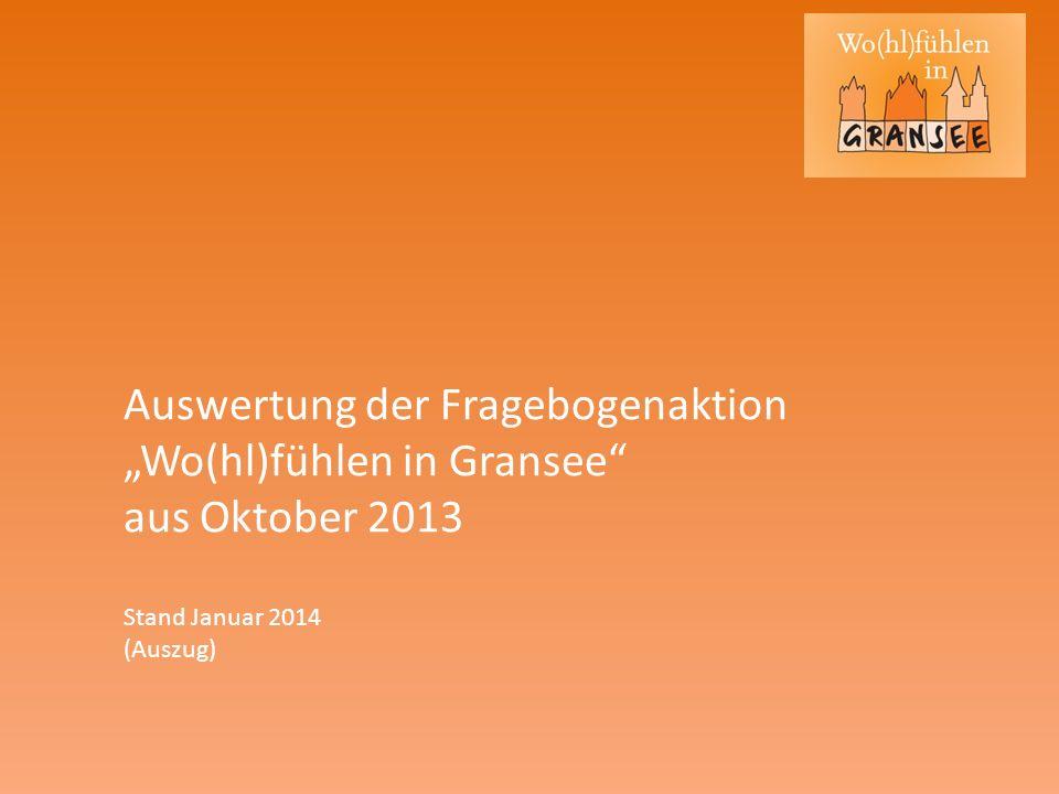 Auswertung der Fragebogenaktion Wo(hl)fühlen in Gransee aus Oktober 2013 Stand Januar 2014 (Auszug)