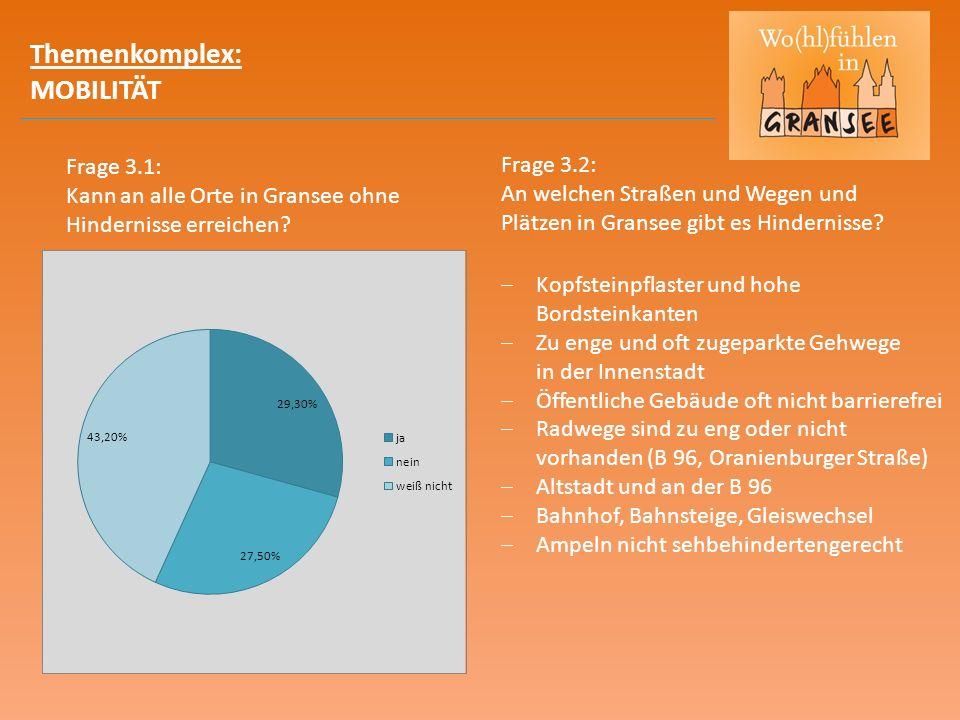 Themenkomplex: MOBILITÄT Frage 3.2: An welchen Straßen und Wegen und Plätzen in Gransee gibt es Hindernisse.