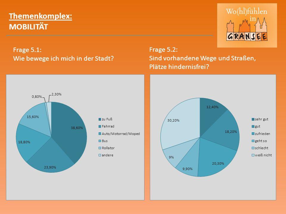 Themenkomplex: MOBILITÄT Frage 5.1: Wie bewege ich mich in der Stadt? Frage 5.2: Sind vorhandene Wege und Straßen, Plätze hindernisfrei?