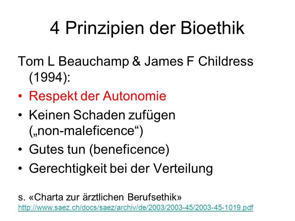 4 Prinzipien der Bioethik Tom L Beauchamp & James F Childress (1994): Respekt der Autonomie Keinen Schaden zufügen (non-maleficence) Gutes tun (benefi