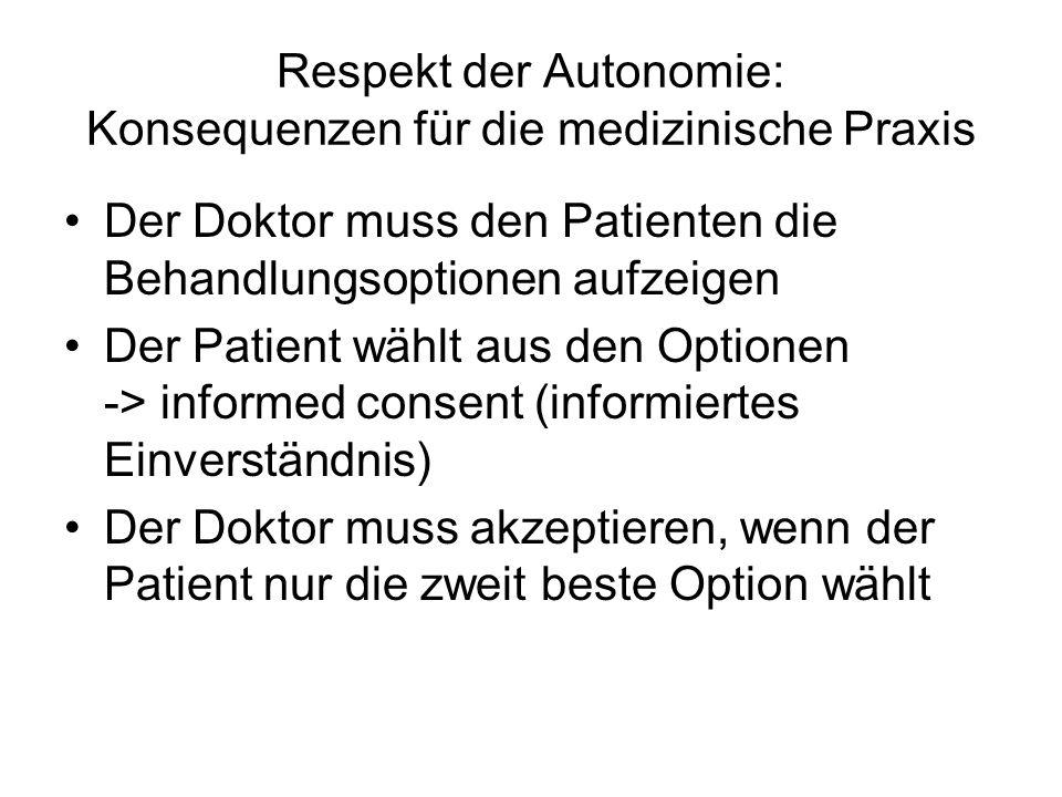 Respekt der Autonomie: Konsequenzen für die medizinische Praxis Der Doktor muss den Patienten die Behandlungsoptionen aufzeigen Der Patient wählt aus