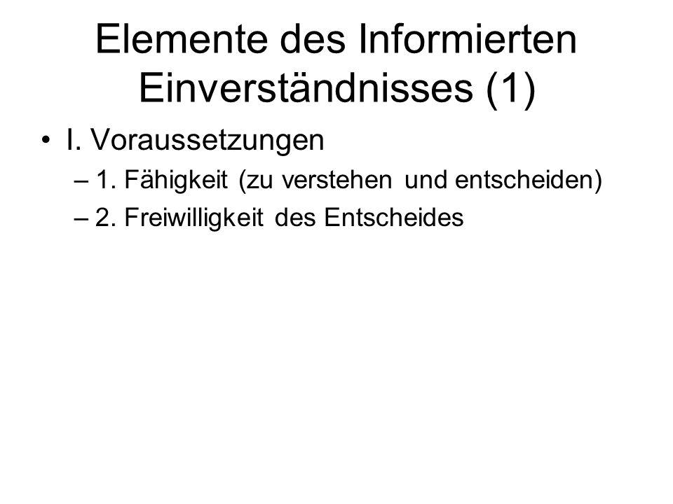 Elemente des Informierten Einverständnisses (1) I. Voraussetzungen –1. Fähigkeit (zu verstehen und entscheiden) –2. Freiwilligkeit des Entscheides