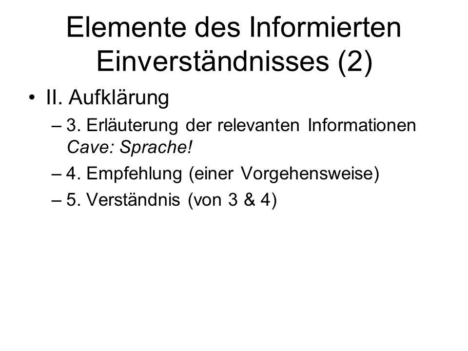 Elemente des Informierten Einverständnisses (2) II. Aufklärung –3. Erläuterung der relevanten Informationen Cave: Sprache! –4. Empfehlung (einer Vorge