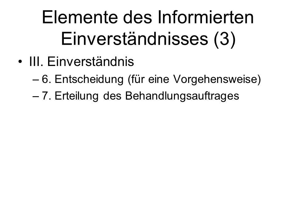 Elemente des Informierten Einverständnisses (3) III. Einverständnis –6. Entscheidung (für eine Vorgehensweise) –7. Erteilung des Behandlungsauftrages