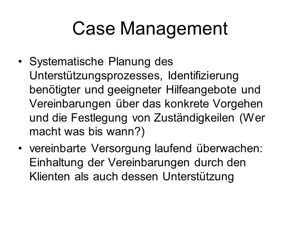 Case Management Systematische Planung des Unterstützungsprozesses, Identifizierung benötigter und geeigneter Hilfeangebote und Vereinbarungen über das