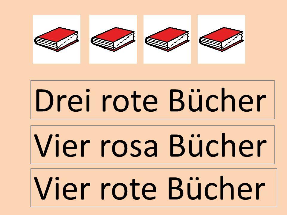 Vier rote Bücher Vier rosa Bücher Drei rote Bücher