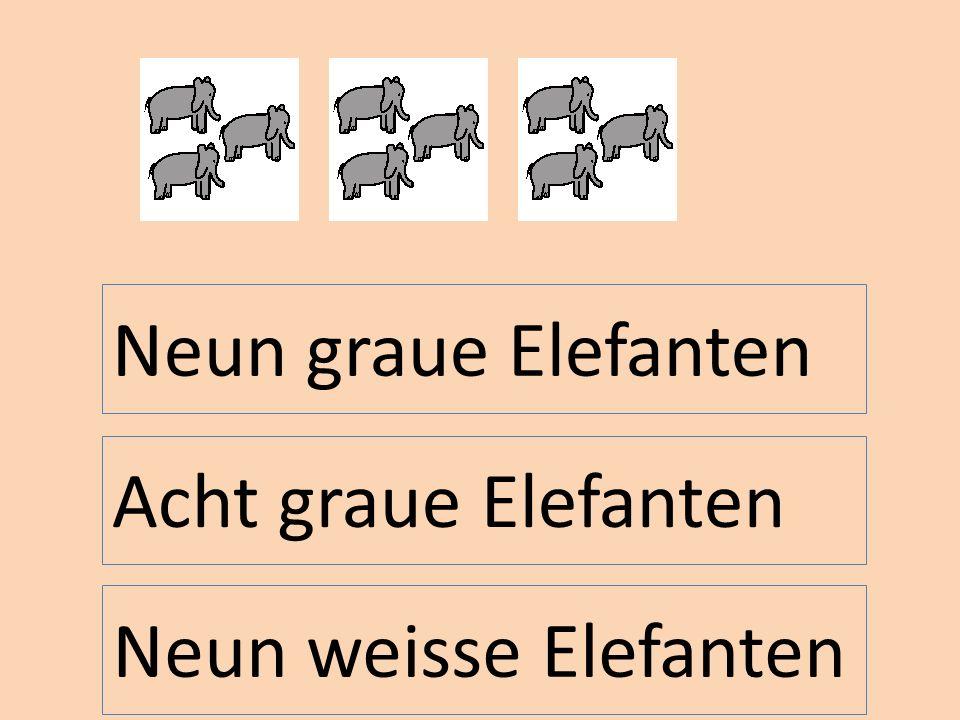 Neun graue Elefanten Acht graue Elefanten Neun weisse Elefanten