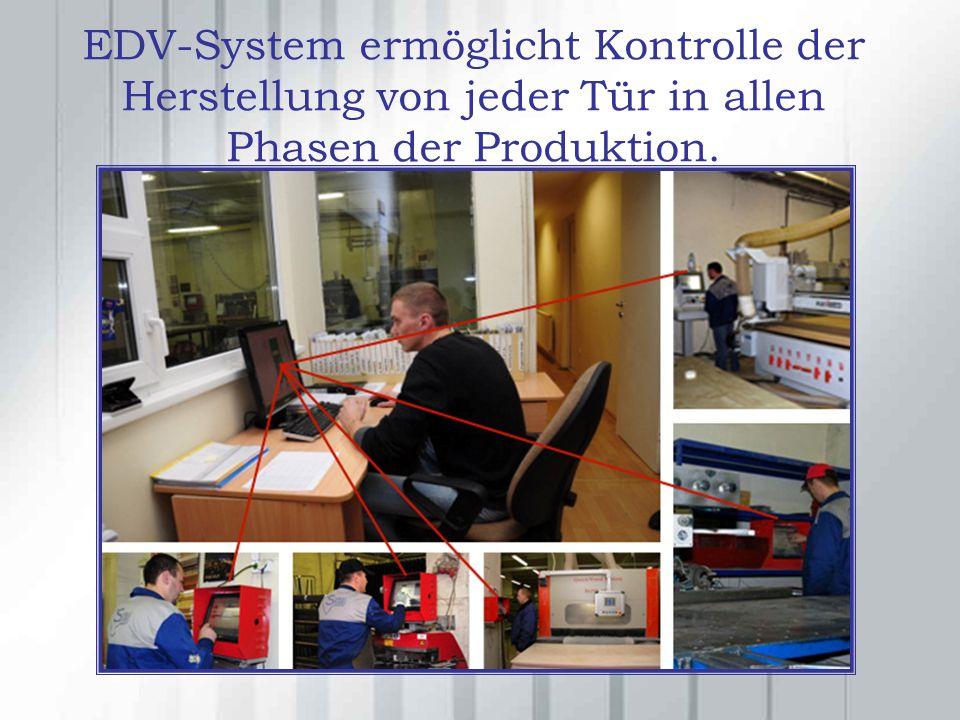 EDV-System ermöglicht Kontrolle der Herstellung von jeder Tür in allen Phasen der Produktion.