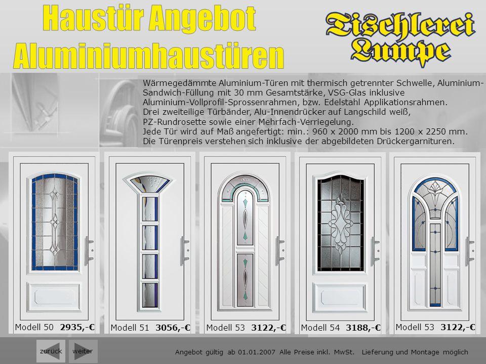 weiter Wärmegedämmte Aluminium-Türen mit thermisch getrennter Schwelle, Aluminium- Sandwich-Füllung mit 30 mm Gesamtstärke, VSG-Glas inklusive Alumini