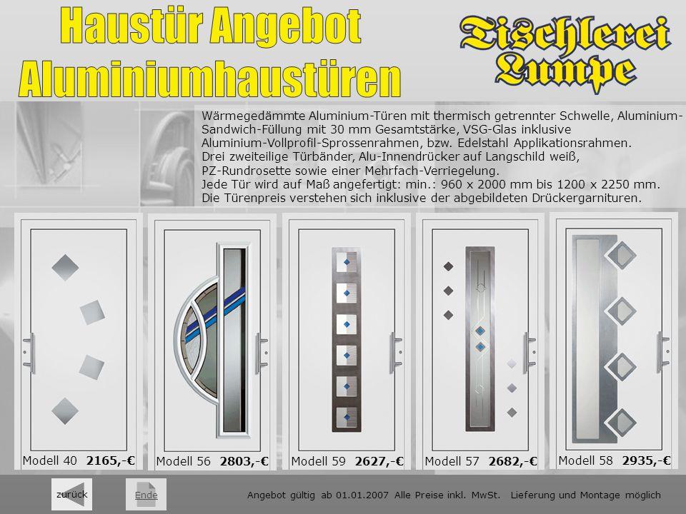 weiter zurück Wärmegedämmte Aluminium-Türen mit thermisch getrennter Schwelle, Aluminium- Sandwich-Füllung mit 30 mm Gesamtstärke, VSG-Glas inklusive