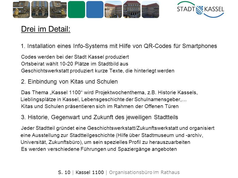 S. 10 | Kassel 1100 | Organisationsbüro im Rathaus Drei im Detail: 1. Installation eines Info-Systems mit Hilfe von QR-Codes für Smartphones Codes wer