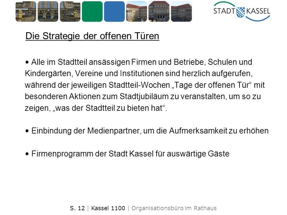 S. 12 | Kassel 1100 | Organisationsbüro im Rathaus Die Strategie der offenen Türen Alle im Stadtteil ansässigen Firmen und Betriebe, Schulen und Kinde