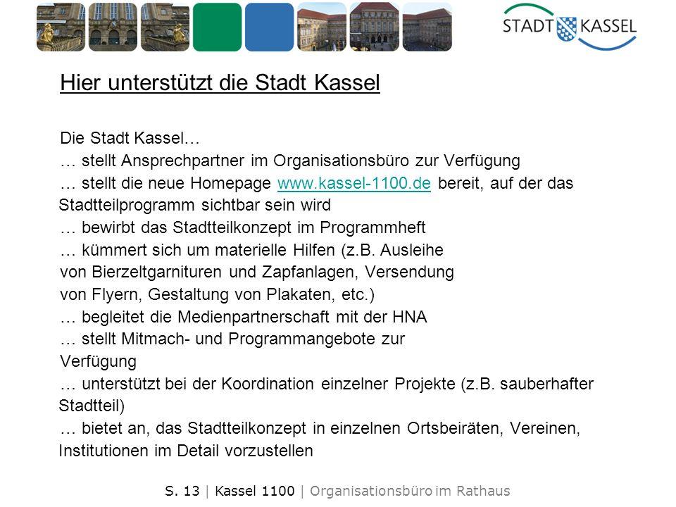 S. 13 | Kassel 1100 | Organisationsbüro im Rathaus Hier unterstützt die Stadt Kassel Die Stadt Kassel… … stellt Ansprechpartner im Organisationsbüro z