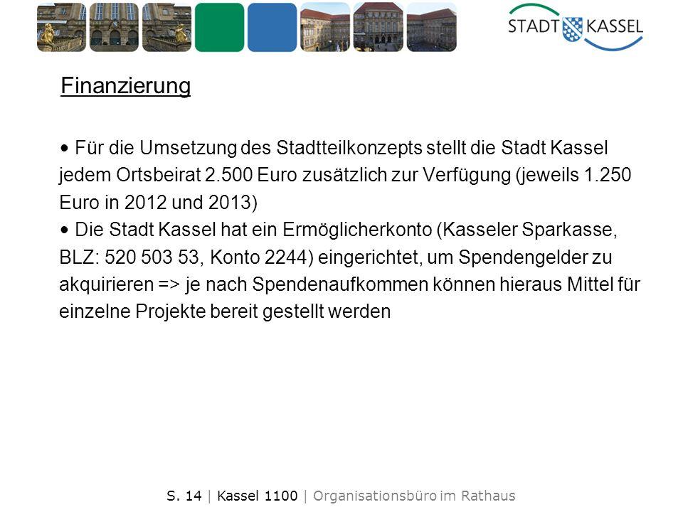 S. 14 | Kassel 1100 | Organisationsbüro im Rathaus Finanzierung Für die Umsetzung des Stadtteilkonzepts stellt die Stadt Kassel jedem Ortsbeirat 2.500