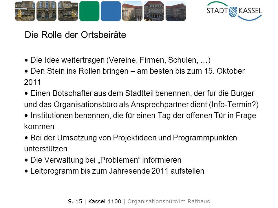 S. 15 | Kassel 1100 | Organisationsbüro im Rathaus 1 Die Rolle der Ortsbeiräte Die Idee weitertragen (Vereine, Firmen, Schulen, …) Den Stein ins Rolle