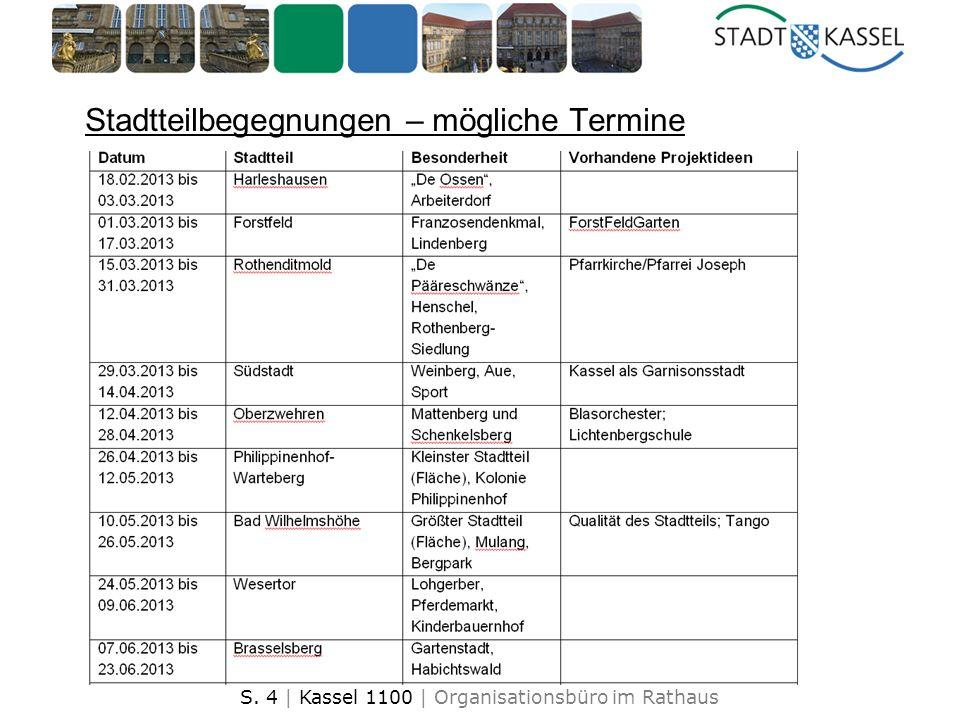 S. 4 | Kassel 1100 | Organisationsbüro im Rathaus Stadtteilbegegnungen – mögliche Termine