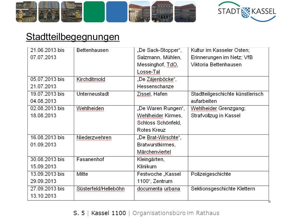 S. 5 | Kassel 1100 | Organisationsbüro im Rathaus Stadtteilbegegnungen
