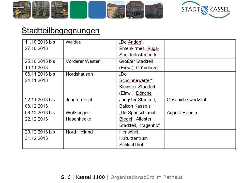 S. 6 | Kassel 1100 | Organisationsbüro im Rathaus Stadtteilbegegnungen