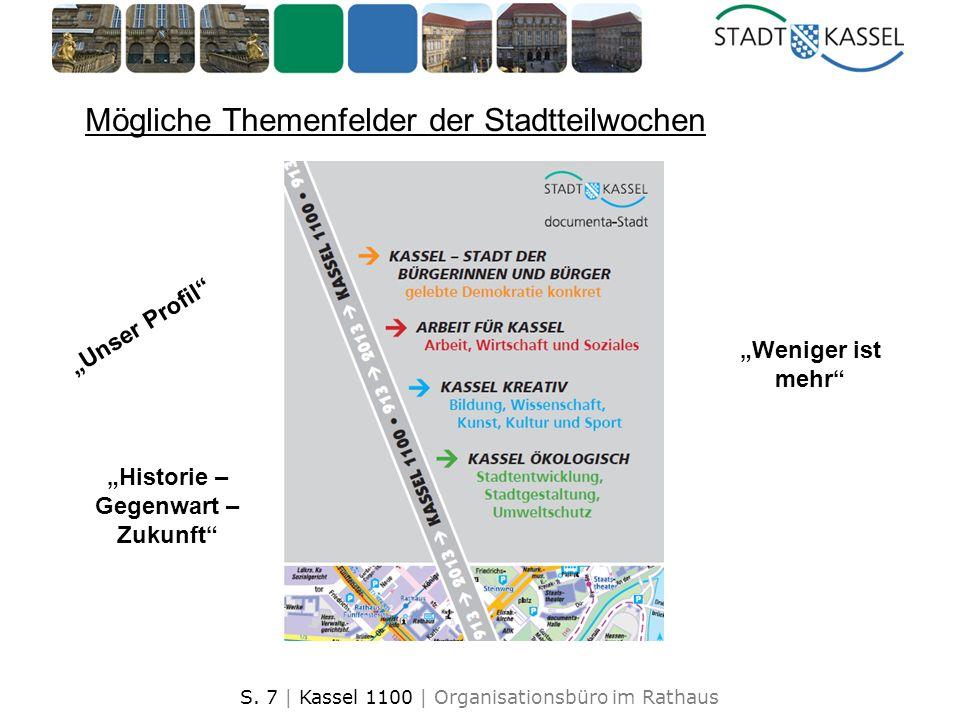 S. 7 | Kassel 1100 | Organisationsbüro im Rathaus Mögliche Themenfelder der Stadtteilwochen Unser Profil Weniger ist mehr Historie – Gegenwart – Zukun