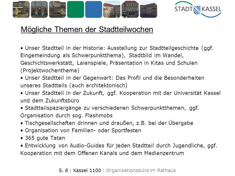 S. 8 | Kassel 1100 | Organisationsbüro im Rathaus Mögliche Themen der Stadtteilwochen Unser Stadtteil in der Historie: Ausstellung zur Stadtteilgeschi