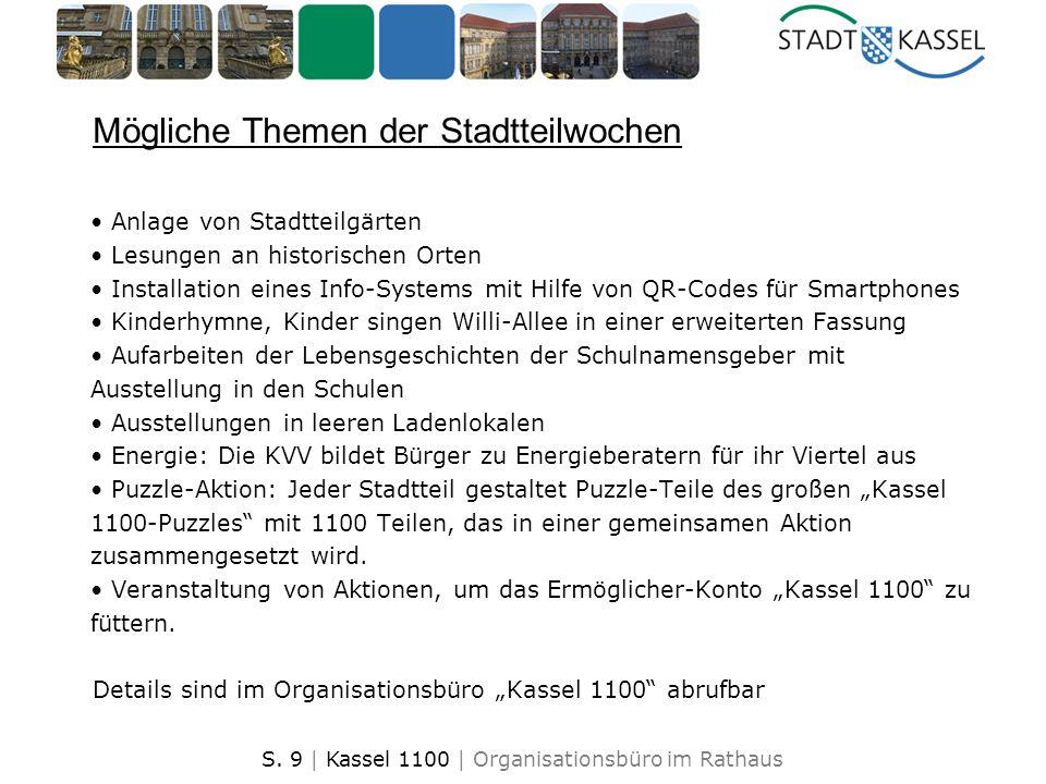 S. 9 | Kassel 1100 | Organisationsbüro im Rathaus Mögliche Themen der Stadtteilwochen Anlage von Stadtteilgärten Lesungen an historischen Orten Instal