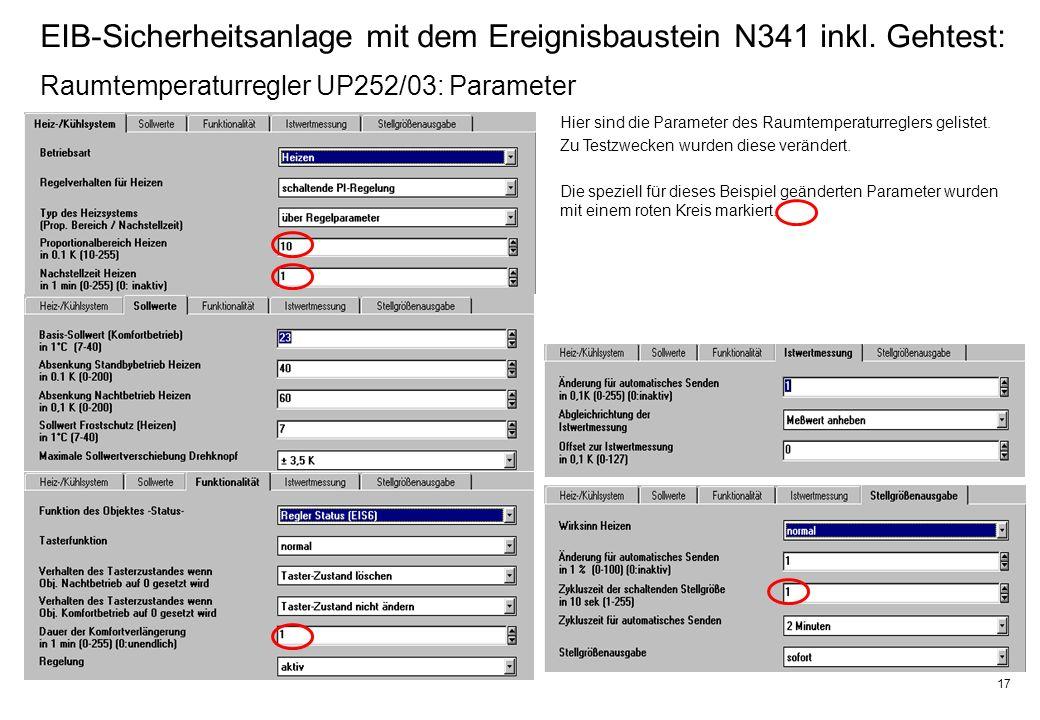 17 EIB-Sicherheitsanlage mit dem Ereignisbaustein N341 inkl.