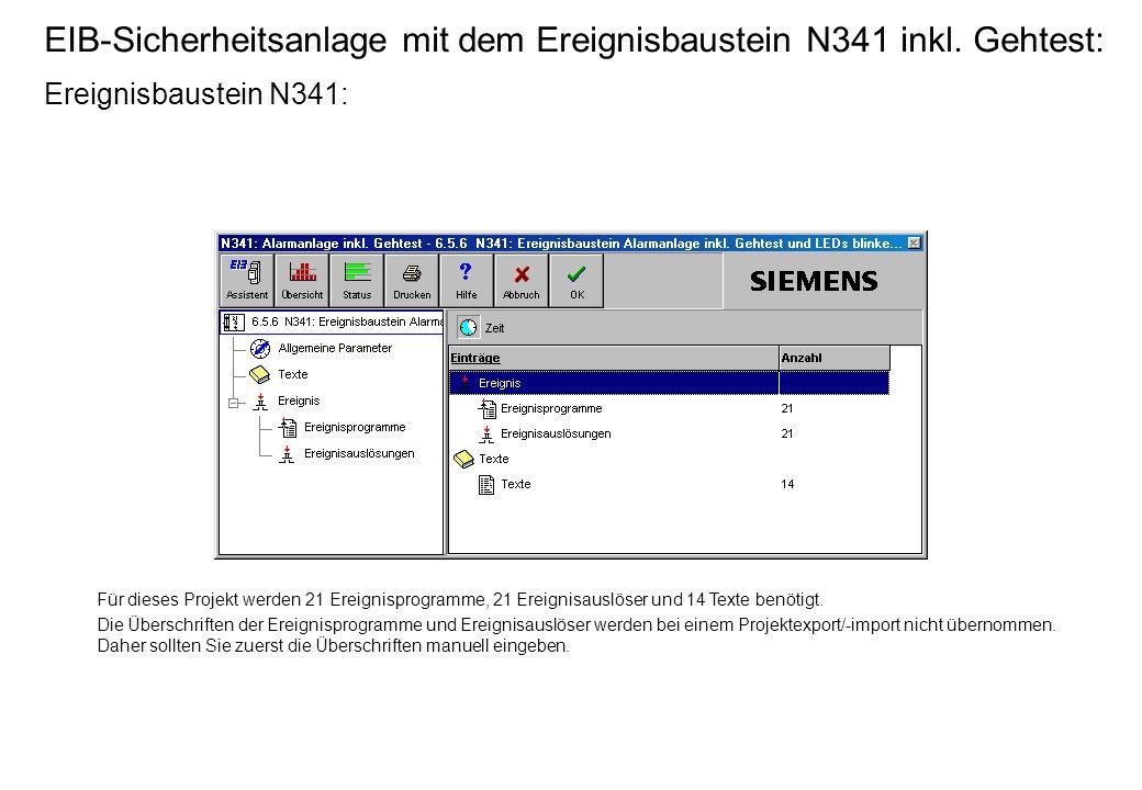 EIB-Sicherheitsanlage mit dem Ereignisbaustein N341 inkl.