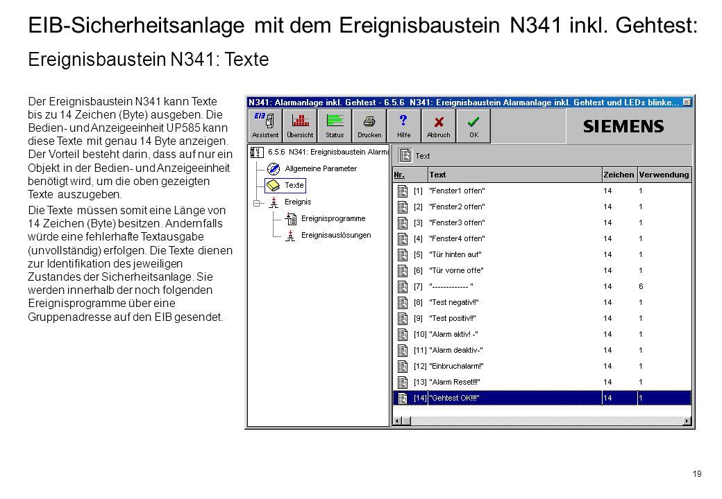 19 EIB-Sicherheitsanlage mit dem Ereignisbaustein N341 inkl.
