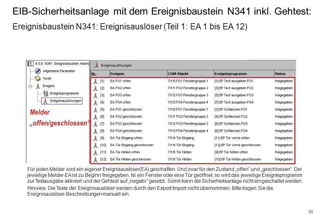 20 EIB-Sicherheitsanlage mit dem Ereignisbaustein N341 inkl.