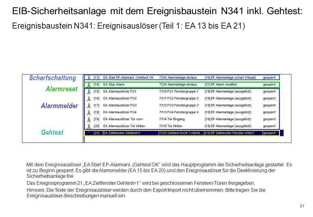 21 EIB-Sicherheitsanlage mit dem Ereignisbaustein N341 inkl.