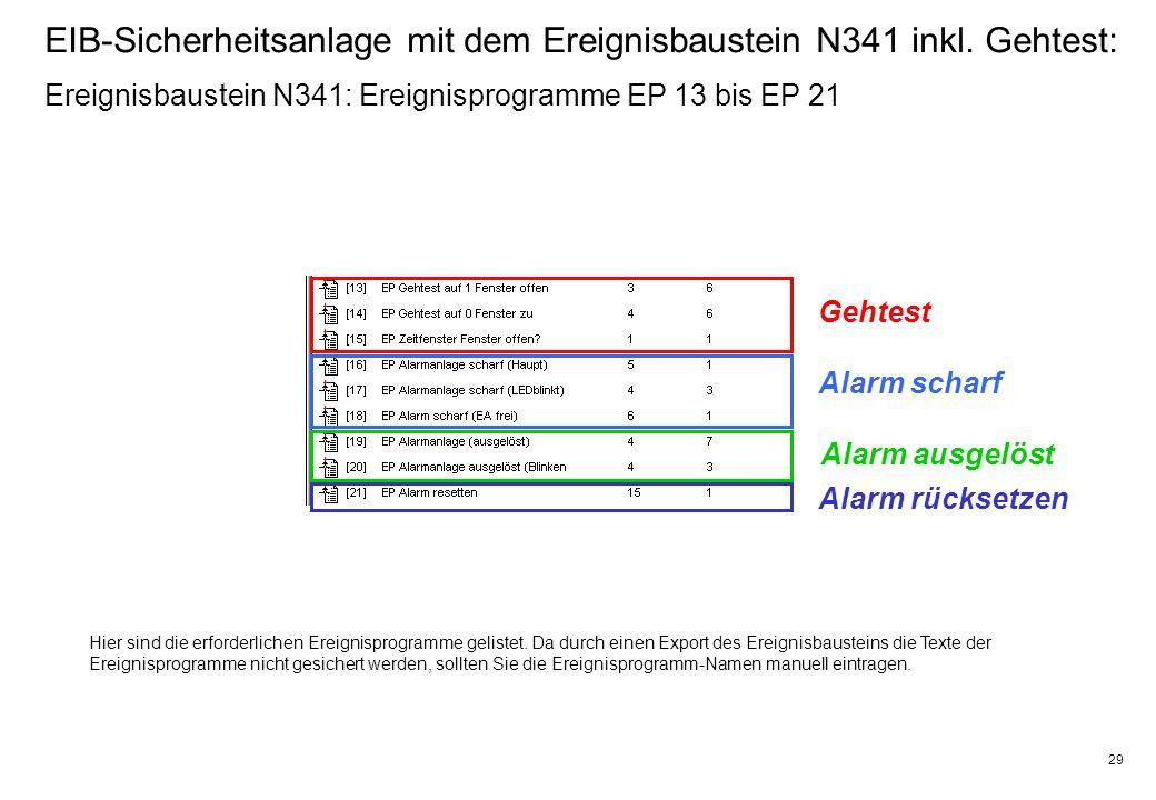 29 EIB-Sicherheitsanlage mit dem Ereignisbaustein N341 inkl.