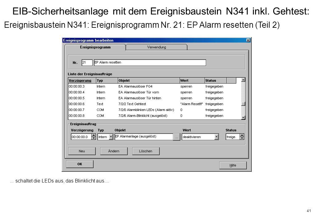 41 EIB-Sicherheitsanlage mit dem Ereignisbaustein N341 inkl.